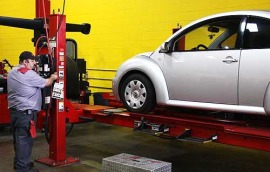 photo of a white VW bug getting ready to have Wheel Alignment in Lake Havasu City